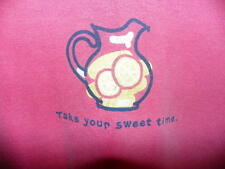 """Womens Life Is Good Pink Melon Size M Tee T Shirt Top """"Take Your Sweet Time"""""""