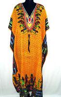 New Women African Kaftan Dress Dashiki  Hippie Gown Maxi Free Size Dress Yellow