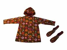 Girl Hartstrings Floral Brown Pink Rain Coat Boots Set Size 5/6 2