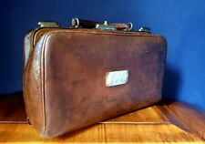 "Vintage Gladstone Leather case bag Circa 1920. Monogrammed ""RML R.H.BAY"" Small"