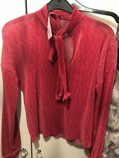 zara pink shiny silver sparkly frilled ruffled top size S frilled sleeve blouse