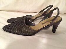 Yves Saint Laurent Heels Women's Size 8 Leather Shoes YSL Silver Gray Slingback