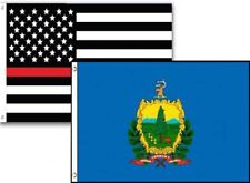 3x5 Usa Thin Red Line Vermont State 2 Pack Flag Wholesale Set Combo 3'x5'