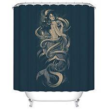 Mermaid Skull Octopus Anchor Kraken Design Polyester Fabric Shower Curtains 66