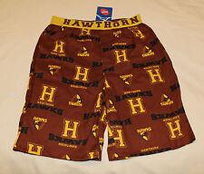 Hawthorn Hawks AFL Boys Brown Printed Cotton Boxer Sleep Shorts Size 8 New