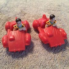 •• Vintage Fred Flintstone PVC Figurine Vehicle UCS Amblin Bedrock Car X 2 Red