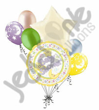 7 pc Baby Gender Neutral Stars & Moon Balloon Bouquet Party Decoration Welcome