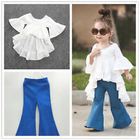 Kids Toddler Shirt Dress Tops + Flared Wide leg pants Fashion Set Outfits New