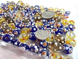 Bumpy Beads Glass Beads Mix Round Glass Beads Assorted Color 50pcs Clear Blue