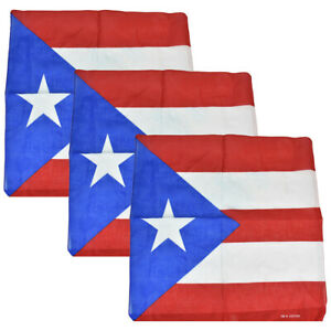 3 Bandanas Cotton Puerto Rico Flag Head Scarf Three Puerto Rican Handkerchiefs
