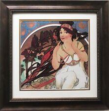 art print~THE PEN~Alphonse Mucha tall lady nouveau deco feather vtg repro 12x29