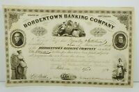 1872 Bordentown Banking Company New Jersey Common Stock Certificate 10 Shares