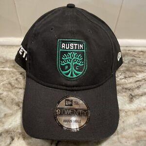 Austin FC New Era Primary SOCCER 9TWENTY Adjustable Hat - Black Cap MLS