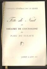 PROGRAMME THEATRE DE L' OCTOGONE PARC DE SCEAUX BALLET SERGE LIFAR 1961