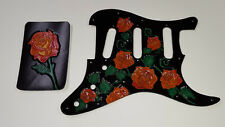 Leather pickguard Fender Stratocaster hand tooled and dyed harmony of roses f