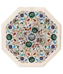 """14"""" White Marble Coffee Table Top Malachite Lapis Floral Inlay Home Decors H3299"""