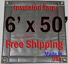 "6' x 50' Insulated Poly Tarp 1/4"" Foam Core Concrete Padding Wall Cushion Kiln"
