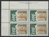 CANADA #379 5¢ Champlain Founding of Quebec UL Plate #1 Block MNH