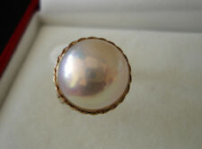 SIZE 6 1/2 & 14MM VINTAGE MABE PEARL / 14K YELLOW GOLD RING
