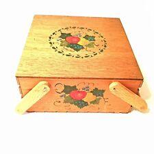 Antique Handmade Wooden Picnic Basket w/Cake Tray Handpainted Fruit