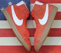 Nike Blazer Mid Suede Vintage Orange Gum Basketball Shoes [518171-801] Women's 8