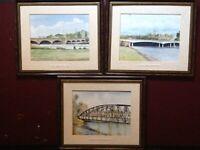 Set of 3 - Contemporary Watercolour Paintings - Bridges - Burton - on - Trent