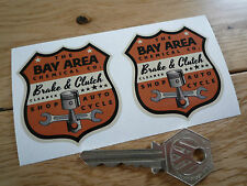 """BAY AREA Shop Auto Cycle Shield Classic Car STICKERS 2"""" Pair Hot Rod Americana"""