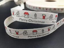 Printed Cotton Ribbon 13mm merry chirstmas Gift Present DIY Sewing Craft 5yards