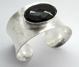 Rustic Silver Cuff Bracelet Natural Gemstone Black Onyx Faceted Oval Stone Cuff