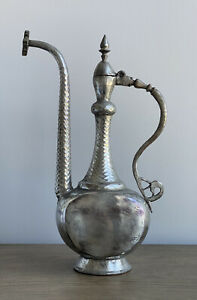 """16.5"""" Antique Persian Tinned Copper Aftaba Ewer Pitcher Qajar Middle Eastern"""