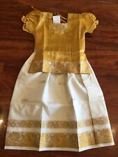 "28"" Age Size 5 - 6 Bollywood Kids Girls South Indian Silk Skirt Top Gold Cream"