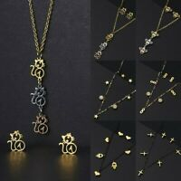 Fashion Stainless Steel Jewelry Set Bee Cat Inifity 8 Pendant Necklace Earrings