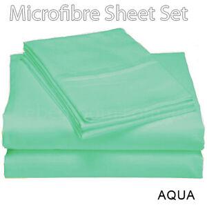 New Arrival 100% Soft Microfiber All Sizes Fitted Flat Sheets Set AQUA