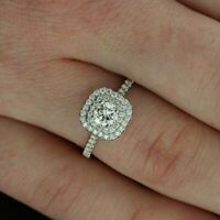 4Ct Round Cut Diamond Double Halo Women Engagement Ring 14K White Gold Finish
