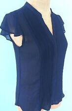 H&M Women's Top Blouse Shirt Size 4 Blue Hidden Buttons Short Cap Sleeve Stretch