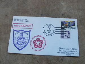 1976 United States  Stamp cover - U.S Navy, USS Dewey @ Port Everglades