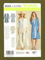 Misses Duster, Knit Dress, Top, Pants Sewing Pattern (XXS-XXL) Simplicity 8059