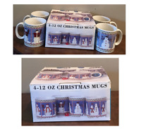 Vintage ONEIDA Sakura Debbie Mumm Stoneware 12 oz. Mugs SNOWMAN 4-Piece Set