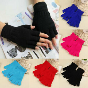 Knitted Fingerless Gloves Half Finger Arm Warmer Solid Stretchy Wrist Long Glove
