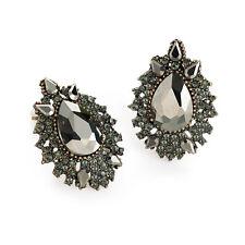 Ladies Burnished Gold Black Diamond Coloured CLIP ON Earrings Jewellery