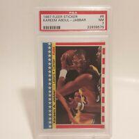 1987 Fleer Sticker Kareem Abdul-Jabbar #8 PSA 7 L.A. Lakers Basketball HOF