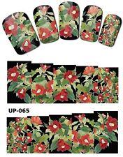 Envoltura de Completo Arte en Uñas Pegatinas Calcomanías Traslados Flores Rojas (UP-065)