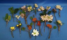 "16 pcs Vintage Hand Wired Beaded Glass Bead Flower Floral Stems 2 1/2"" to 9"""