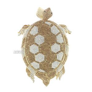Gold Rhinestone Tortoise Evening Bag Party Clutch Crystal Handbag Womens Purse