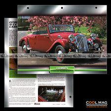 #039.08 ★ CITROËN 11 CV CABRIOLET 1935 ★ (Traction Avant) Fiche Auto Car card