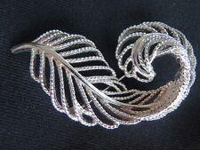 """LISNER Brooch Pin Silver Tone Stylish Leaf Design 2 1/2"""" Long Vintage S/H $2.00"""