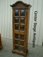 60743 Carved  Oak Curio Cabinet Etergere with Convex Glass in Doors