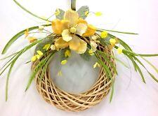 "Cream Rattan Wreath~Yellow Fabric/Burlap Magnolia. Artificial. 26"""