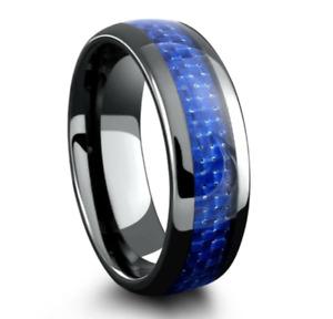 8mm Men's or Ladie's Ceramic Black with Blue Carbon Fiber Wedding Band Ring