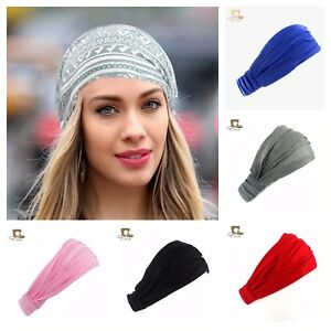 Wide headband elastic bandana turban hair band ladies Plain Colours.  07
